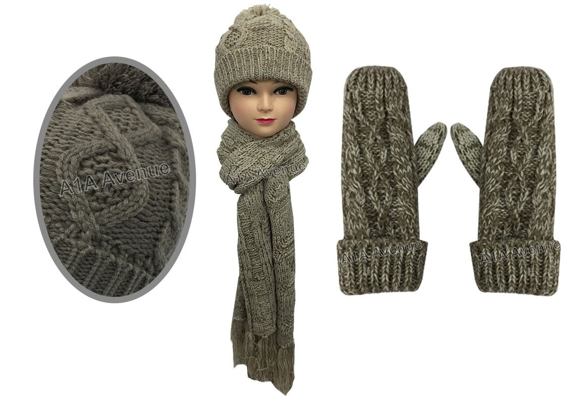 ba6e1337f9ff92 New Stylish Womens Ladies Woolly Thick Knit Hat Scarf And Mitten Gloves Set  In 6 Colours (Beige/Brown): Amazon.co.uk: Kitchen & Home