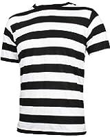 Amazon.com: Men's Black & White Striped Rockabilly Punk T Shirt (S ...