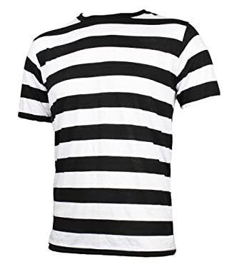Adult Men's Short Sleeve Striped Shirt Black White | Amazon.com