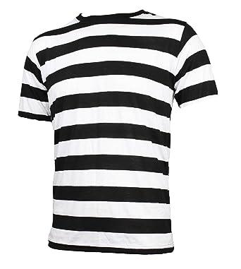 Adult Men's Short Sleeve Striped Shirt Black White | Amazon.com