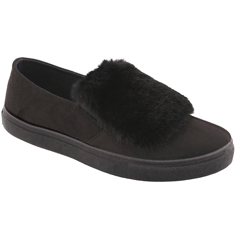 Unique Top Marianne Black Suede Like Faux Leather Pom Pom Embellishment Uniform Gothic Comfort Sneaker Flats Slide Slip On Tennis Shoe Nurse for Sale Women Teen Girl (Size 6.5, Black)