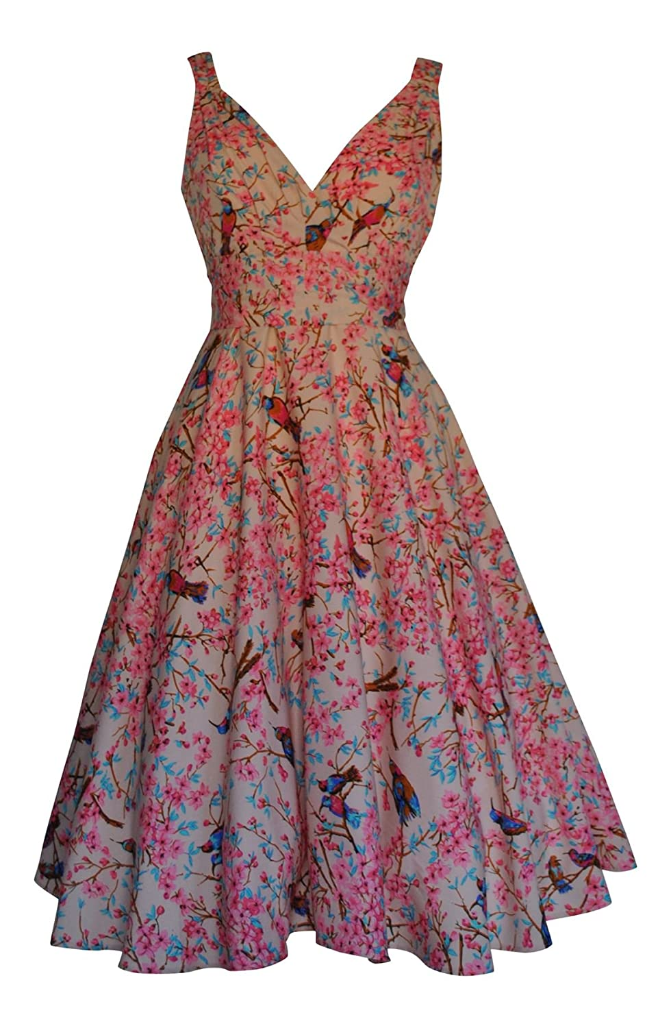 Womens 40's 50's Vintage Style Oriental Bird Print Full Circle Flared Dress