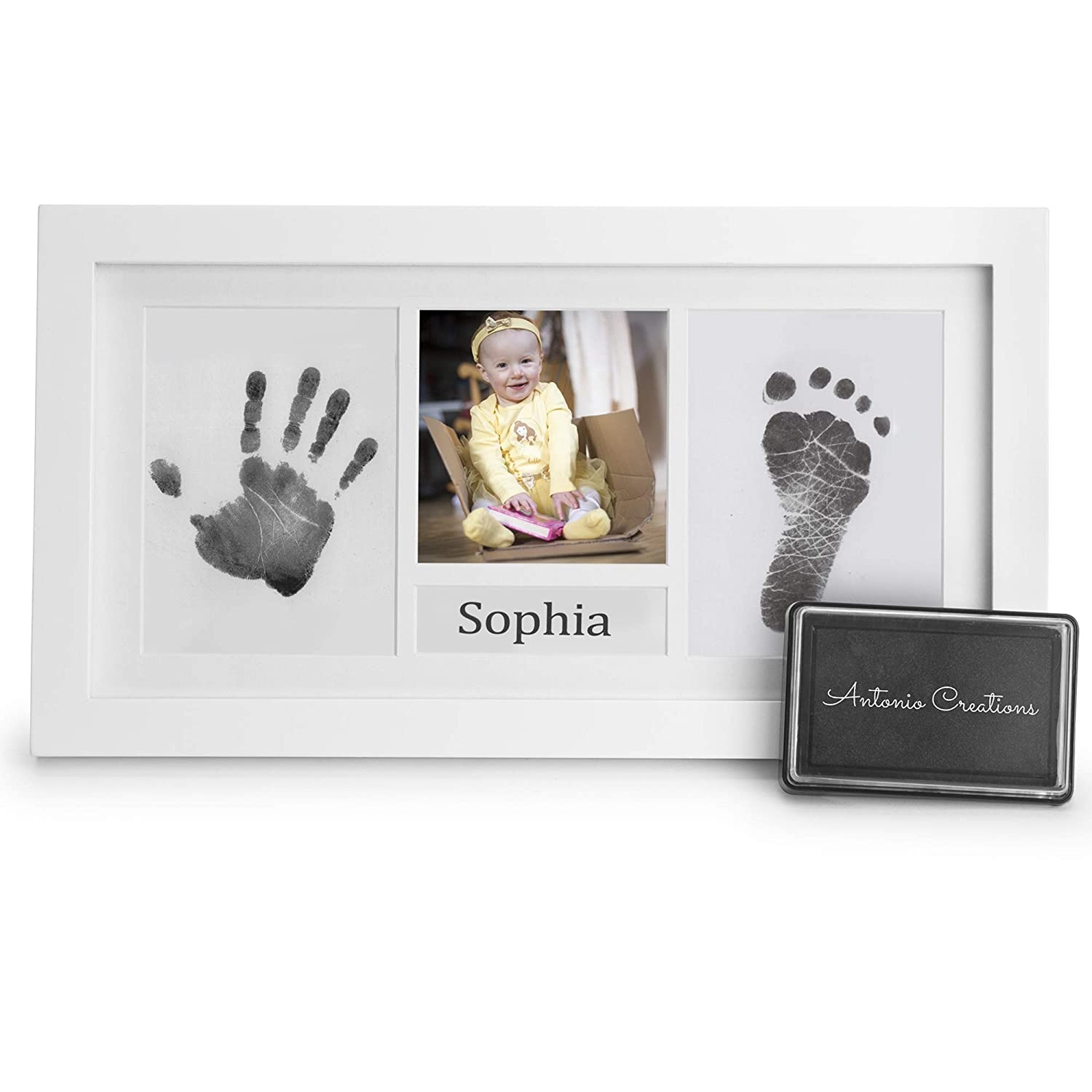 Baby Handprint Kit & Footprint Photo Frame for Newborns Baby Shower Registry Christening Keepsake Gift Extra Large Ink Pad, Two Mounts, Name Section for Baby with Two Name Cards. A Beautiful Handmade Memory Gift for Wall & Table Decor by Antonio C