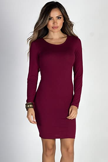 4313ba671f9d Babe Society Women's Burgundy Long Sleeve Cage Back Dress L at ...