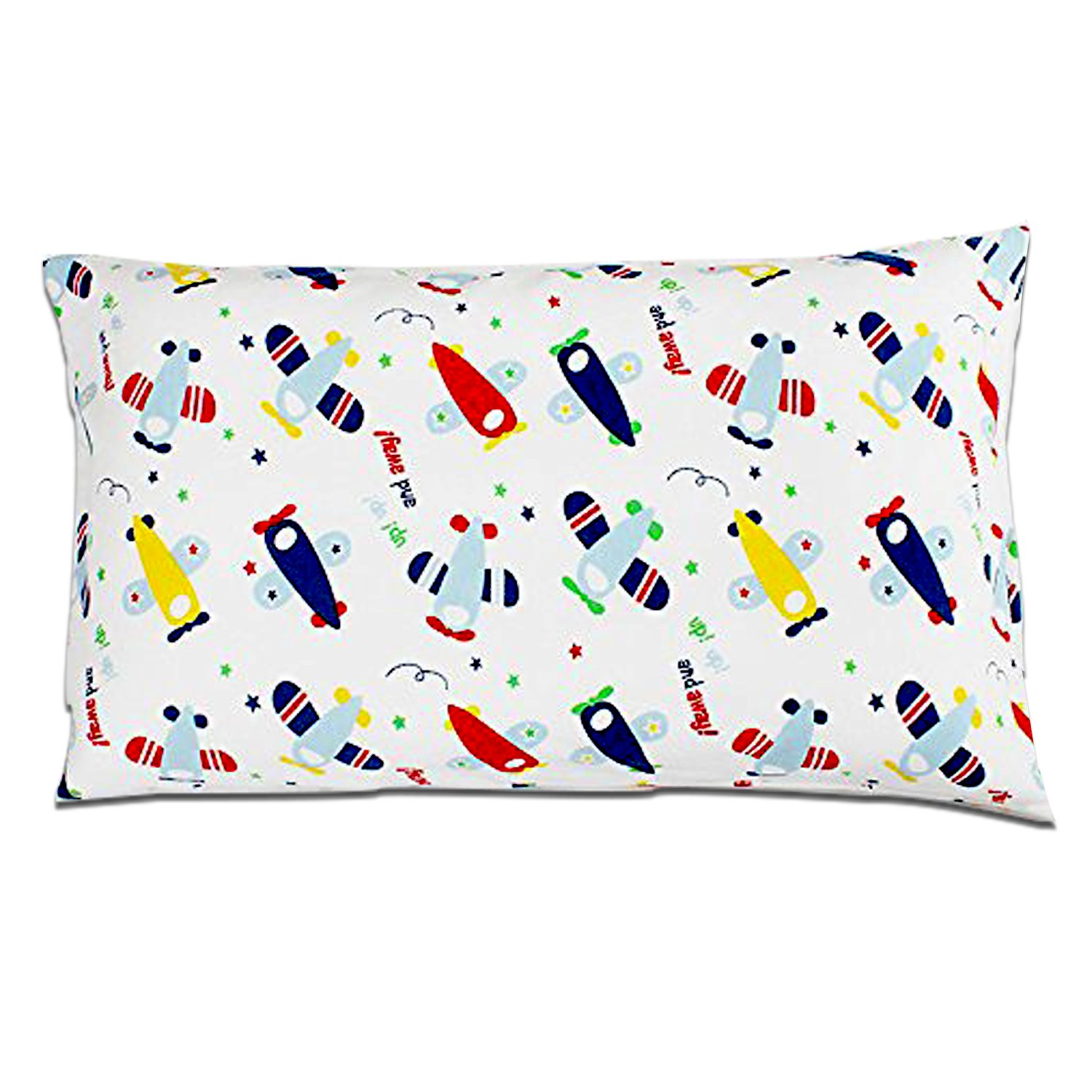 Cotton Toddler Pillowcase,100% Natural Cotton Covers 14'' x 20'' Pillow Protectors Envelop Style for Kids Bedding -Airplanes