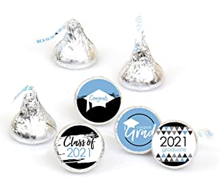 product image for Big Dot of Happiness Light Blue Grad - Best is Yet to Come - Light Blue 2021 Graduation Party Round Candy Sticker Favors - Labels Fit Hershey's Kisses (1 Sheet of 108)