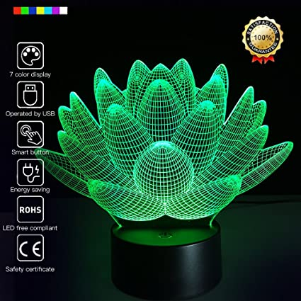 3D Glow LED Night Light Lotus Inspiration 7 Colors Optical Illusion Lamp  Touch Sensor For Home