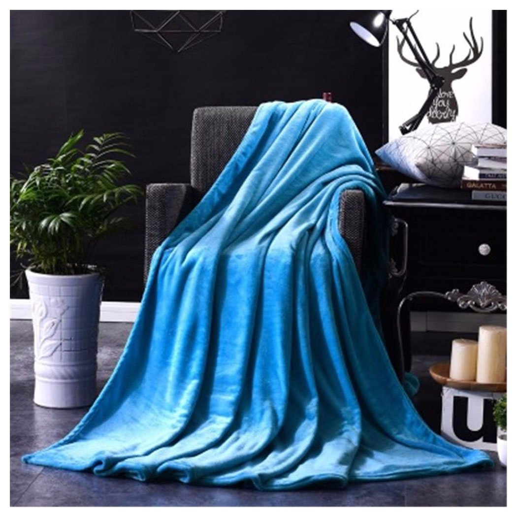 Soft Warm Blanket Fuibo 100*140cm Warm Micro Plush Fleece Blanket Throw Rug Sofa Bedding Super Soft Warm Solid Blanket (White)