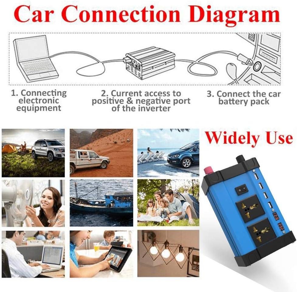 Nrpfell Display LED Digitale da 4000W con Inverter di Potenza per Auto Convertitore Sinusoidale Modificato da CC 12V Un CA 220V con 4 Porte USB