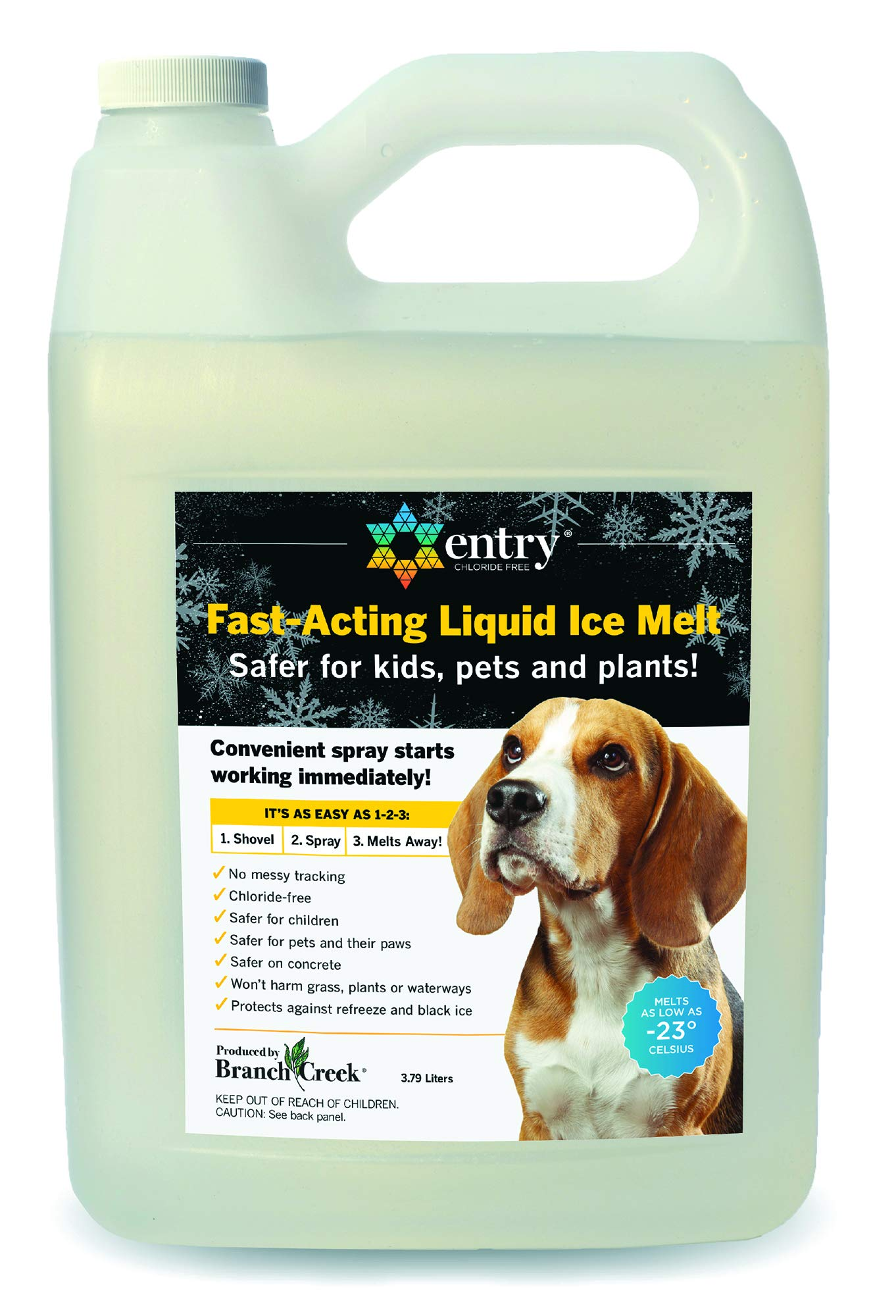 Branch Creek Entry Chloride-Free, Non-Toxic, Liquid Snow and Ice Melt Safer for Pets, Plants, Floors, Concrete, Sidewalks, and Metal for Residential or Commercial Use (1 Gallon) by Branch Creek