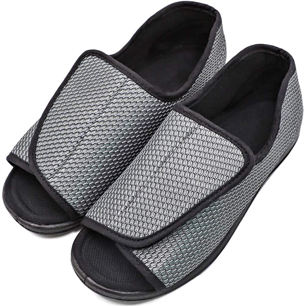 d58897f8c8e81 Men's Diabetic Shoes Swollen Feet Slippers Adjustable Strap Comfortable  Orthopedic Wide Footwear Open Toe Sandals Easy On Off for Diabetic & Edema  ...