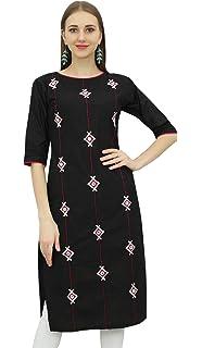 1485d76513d Bimba Broderie de Femmes Coton Noir Kurta Straight Kurti Designer Ethnic