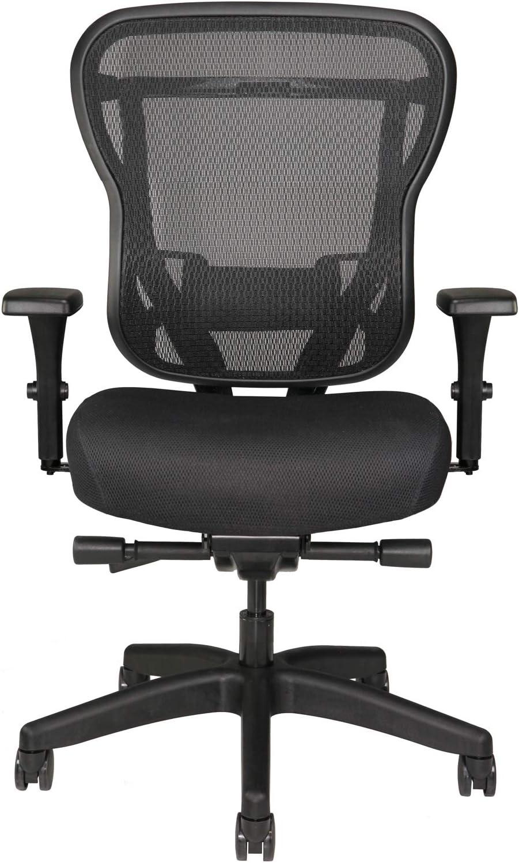Oak Hollow Furniture Aloria Series Office Chair Ergonomic Executive Computer Chair, Fabric Soft Seat Cushion, Mesh Back, Adjustable Lumbar Support Swivel and Tilt (Black)