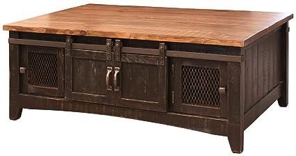 Anton Black Sliding Barn Door Coffee Table