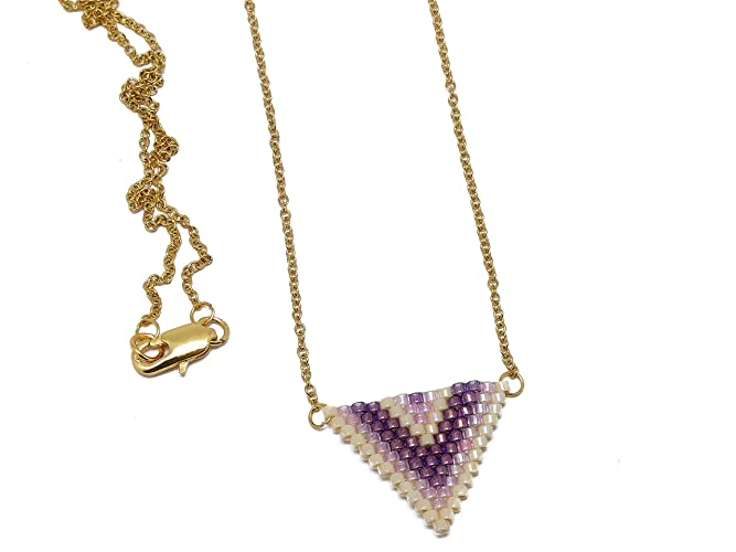 collar perlas japonesas púrpura rosa beige triángulo tejer ...