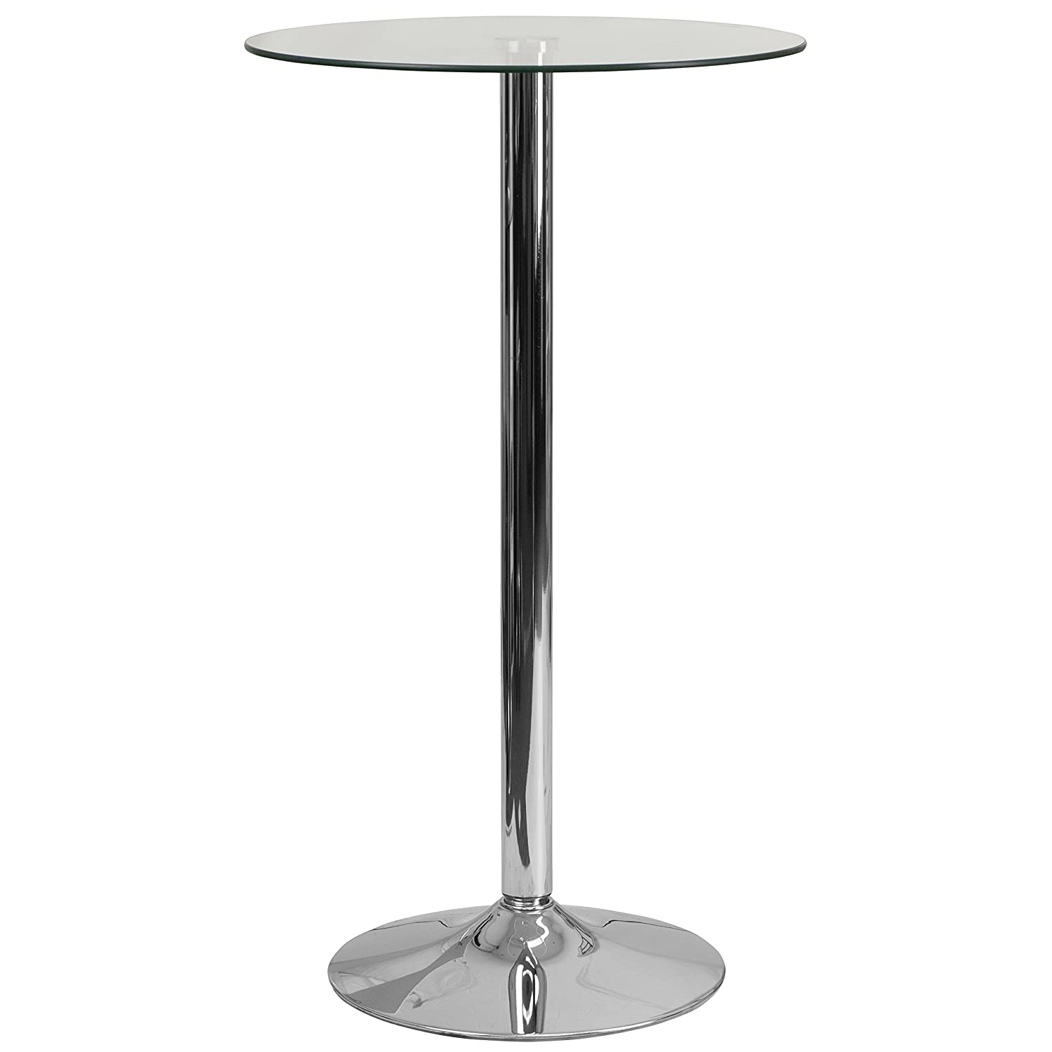 Flash Furniture 23.75'' Round Glass Table with 41.75''H Chrome Base CH-3-GG