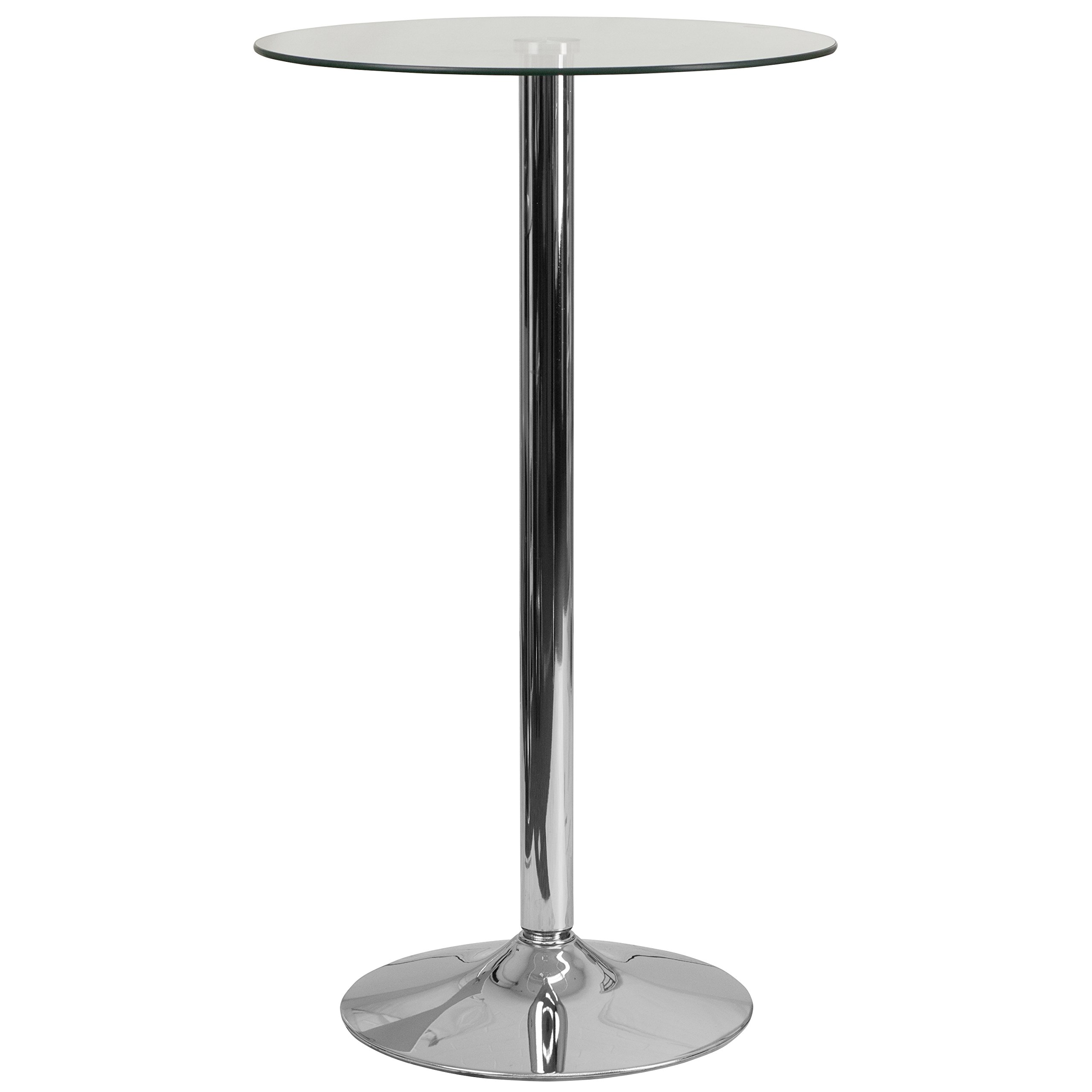 Flash Furniture 23.75'' Round Glass Table with 41.75''H Chrome Base by Flash Furniture