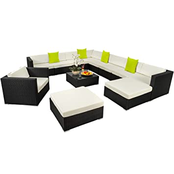 Amazon.de: TecTake Hochwertige XXL Aluminium Poly-Rattan Lounge ...