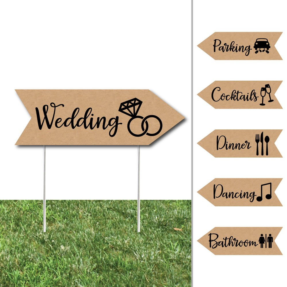 Big Dot of Happiness Rustic Kraft - Arrow Wedding and Reception Directional Signs - Double Sided Outdoor Yard Sign - Set of 6