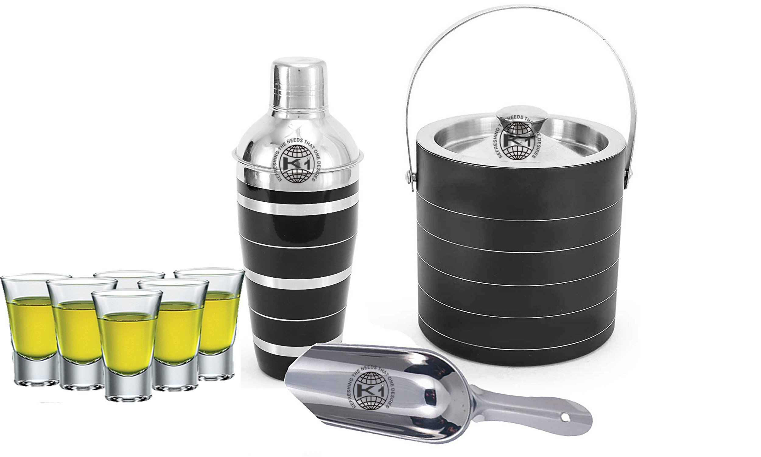 King International 100% Stainless Steel Bar Set | Bar Tools | Bar Accessories Set Of 9 Pieces Includes 6 Shot Glasses | Ice Bucket | Cocktail Shaker | Ice Picker |