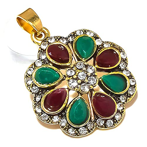 Handmade Jewelry Turkish Style Red Dyed Ruby Dyed Emerald Brass Metal Earring 1.5