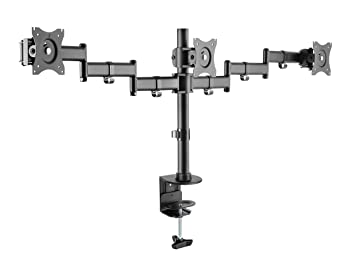 """Rocelco Triple Articulated Triple Monitor Desk Mount Arm, Fits 13""""- 27"""" Flat Panel Computer Monitors - Black"""