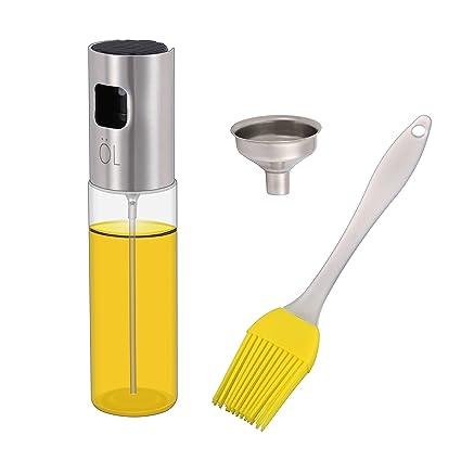 KWOKWEI Öl Sprühflasche, 100ml Sprayer Ölspender aus Edelstahl und Glas, Öl Auslöser/Olivenöl Glasflasche mit Bürste, Transpa