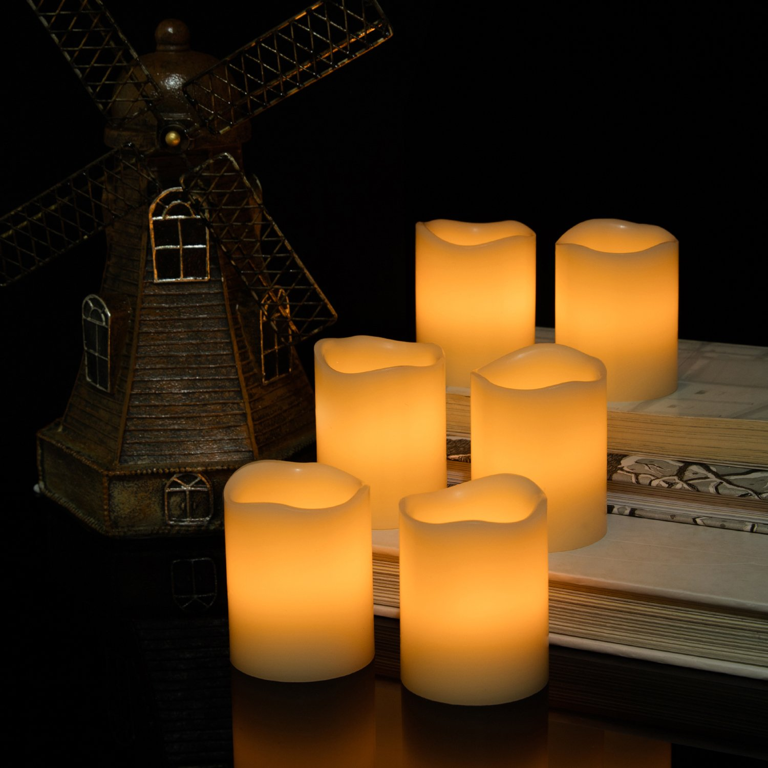 Kohree Flameless Candles Light LED Candles with Built-in Daily-Cycle Timer, Outdoor Battery Operated Led Real Wax Candles Light, Pillar Candle, Warm White Pack of 12 by Kohree (Image #6)