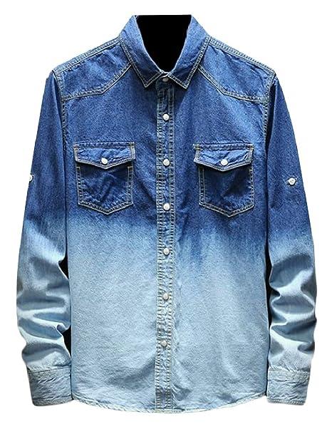 665df6dcfb8a pujingge Mens Denim Slim Fit Long Sleeve Button Down Work Shirt Blue XS