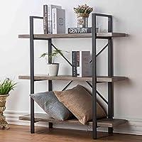 Deals on HSH 3-Shelf Bookcase, Rustic Bookshelf
