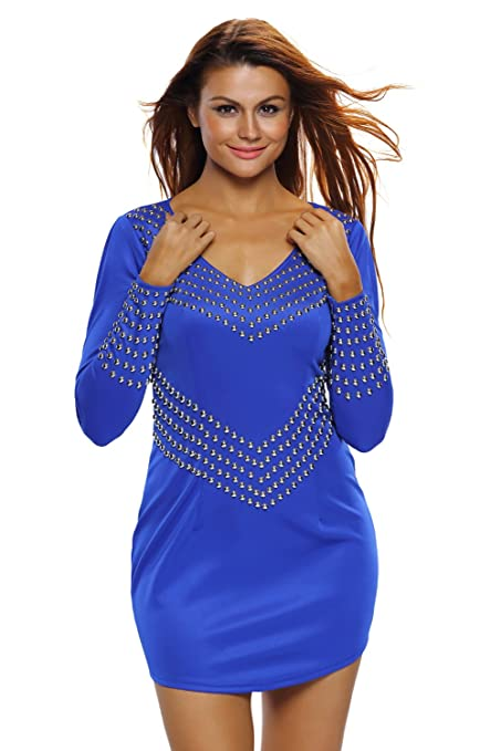 Nuevas mujeres de Royal azul plateado con tachuelas manga larga vestido Club Wear Partido desgaste tamaño