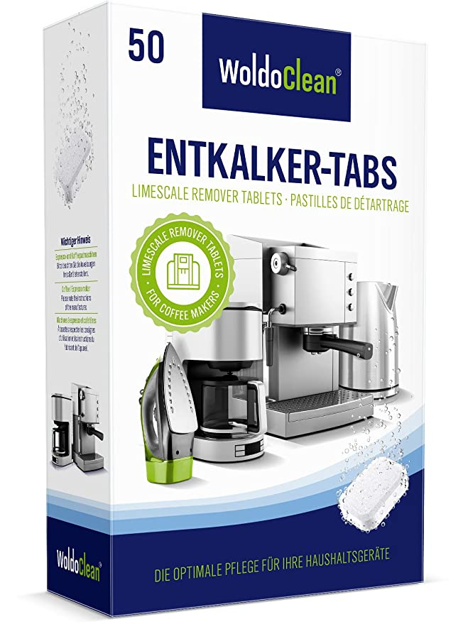 Entkalkungstabletten für Kaffeevollautomat & Kaffeemaschinen 50 Entkalker Tabs – kompatibel für Siemens Miele Jura Melitta Bo