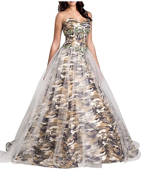 PrettyWish Vogue Camo Wedding Dress With Camo Ball Gown Strapless Tulle Camo us2
