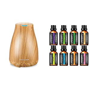 URPOWER 2nd Version Essential Oil Diffuser with 8 Essential Oil,100% Pure Therapeutic Grade Essential Oils Diffuser Set Lavender/Peppermint/Tea Tree/Orange/Eucalyptus/Lemongrass/Frankincense/Rosemary