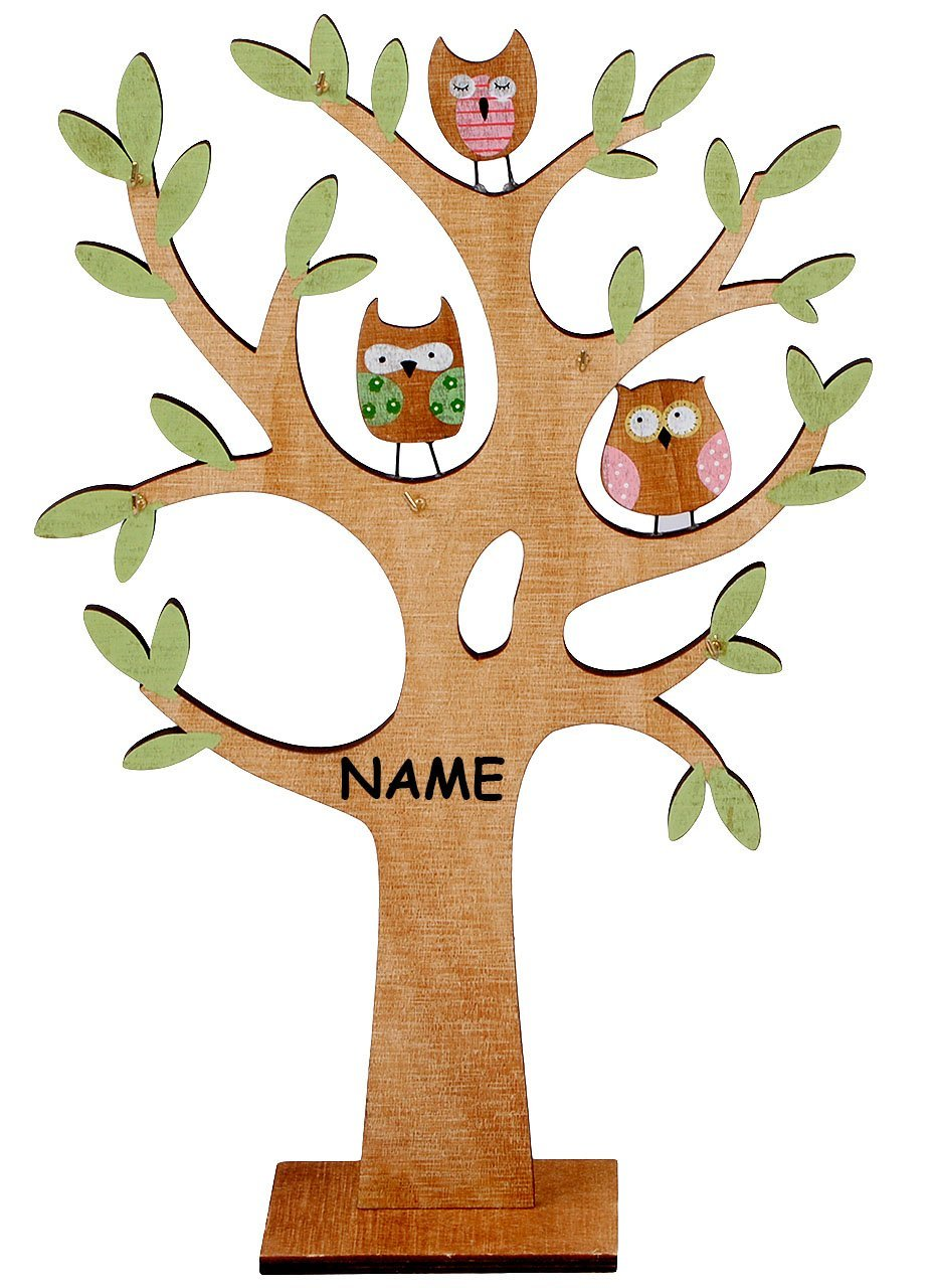 Schmuckbaum - aus Holz - Eulen - incl. Namen - zum Hinstellen ...