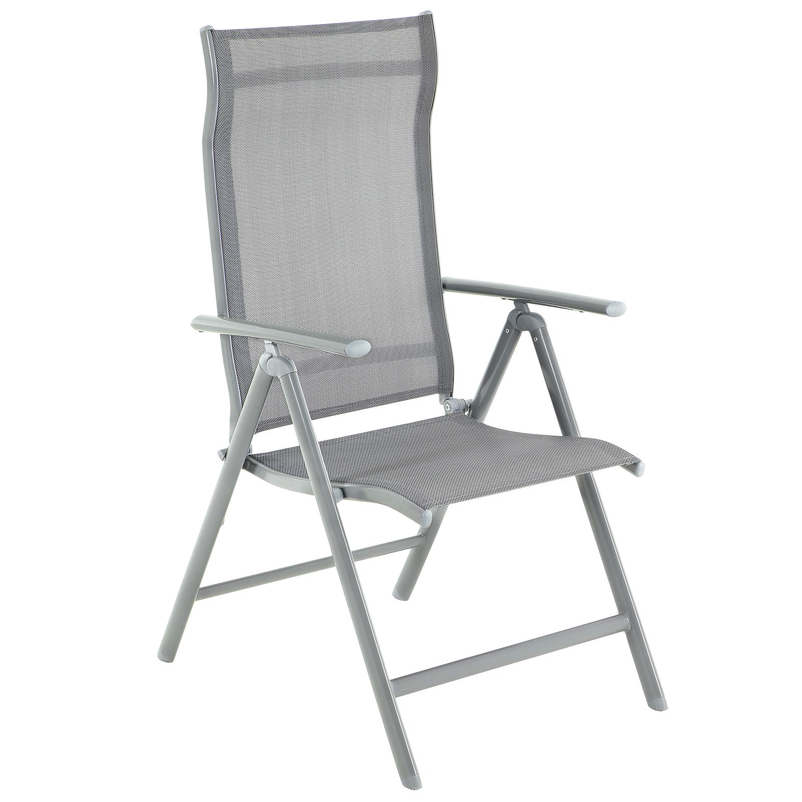 SONGMICS Folding Garden Chair, Outdoor Chair with Durable Aluminum  Structure, 8-Angle Reclining Backrest, Max. Capacity 8 kg, Grey GCB8GY