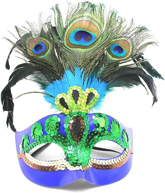 Amazon.com: Máscara de plumas de pavo real para mujer ...