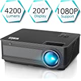 Vidéoprojecteur, WiMiUS Vidéo Projecteur 4200 Lumens Full HD Supporte 1080P Rétroprojecteur LED Projecteur Home Cinéma Compatible avec Amazon Firestick, Smartphone,Chromecast, TV Xbox, PS4, PC,etc