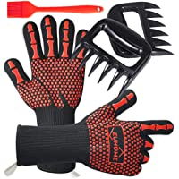 EUHOME 3 in 1 BBQ Grill Accessories With EN407 Certified Oven Mitts 1472 F° Extremely Heat Resistant BBQ Grilling Gloves…