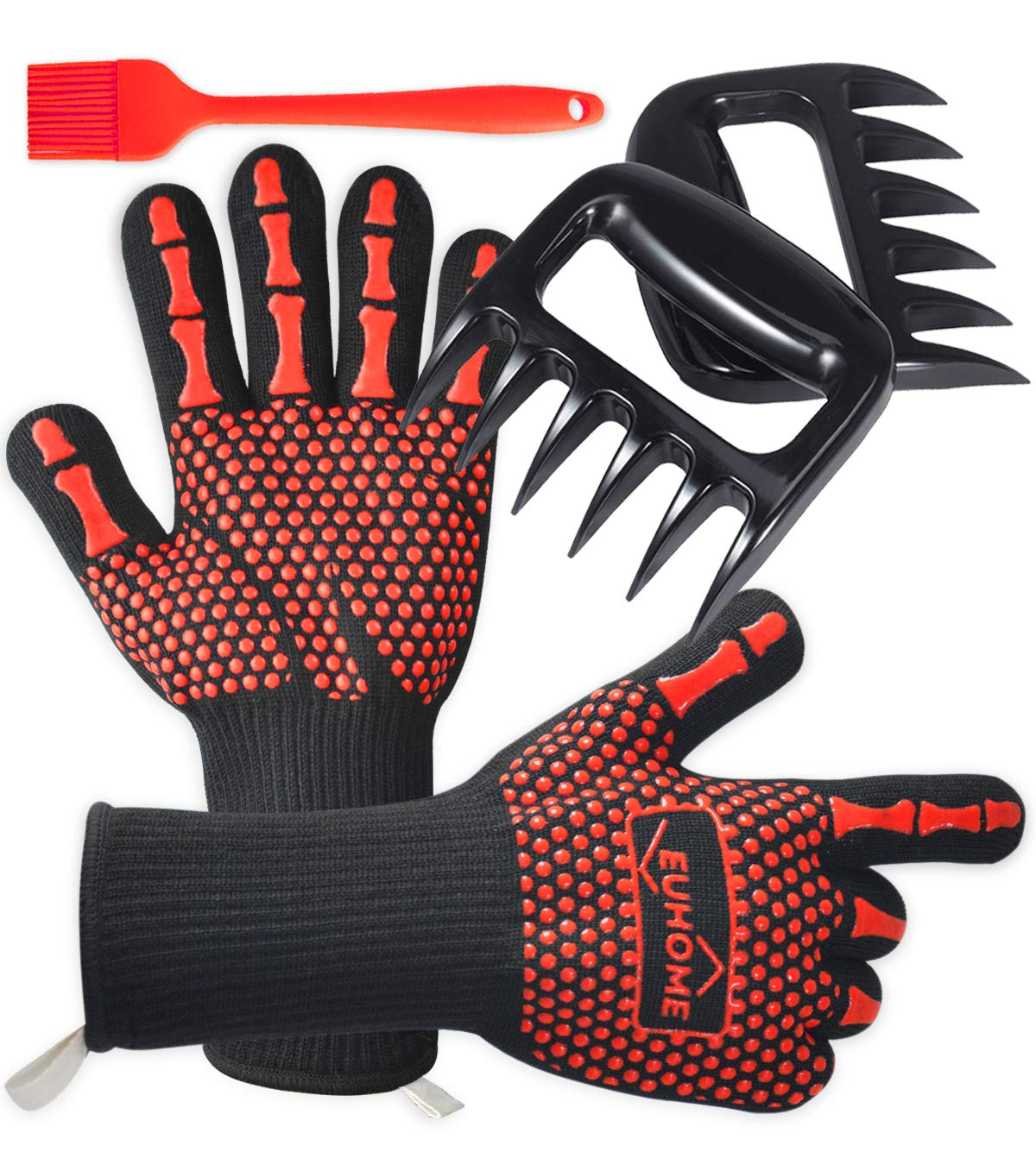 EUHOME 3 in 1 BBQ Gloves Grill Accessories with EN407 Certified Oven Mitts 1472 F° Extremely Heat Resistant Gloves, Grill Brush & BBQ Bear Claws for Men, Grill, Baking, Christmas
