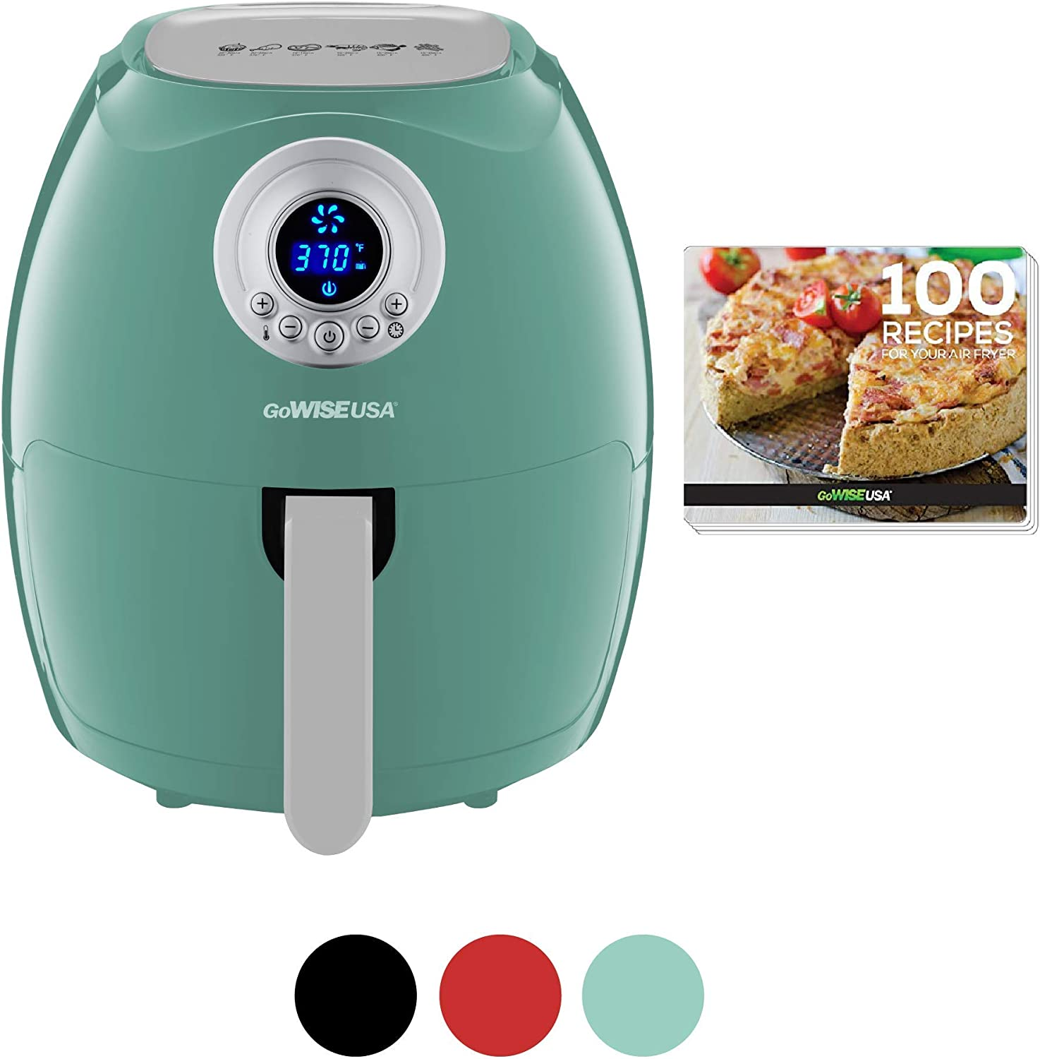 GoWISE USA 3.7-Quart Digital Air Fryer + 100 Recipes, Mint, Qt