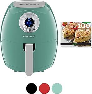 GoWISE USA 3.7-Quart Digital Air Fryer + 100 Recipes, Mint, Qt