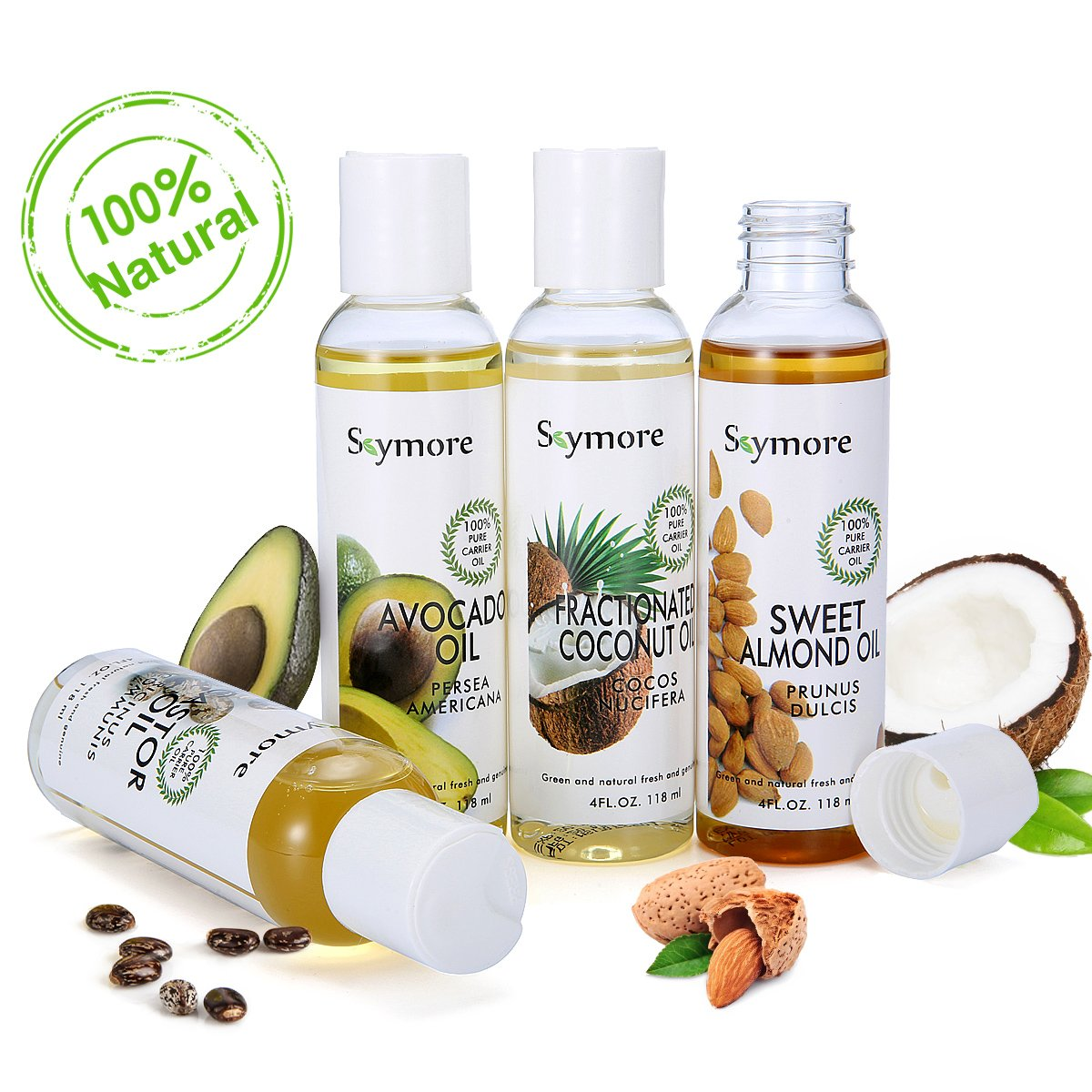 Skymore Top 4 100% Pure Trägeröle Set (Mandelöl, Kokoöl, Avocado Öl, Rizinusöl), rein Carrier Oil für Haut Haar und Nagel, Basisöl, 1er Pack(4x118ml) Kokoöl Avocado Öl Rizinusöl) Basisöl
