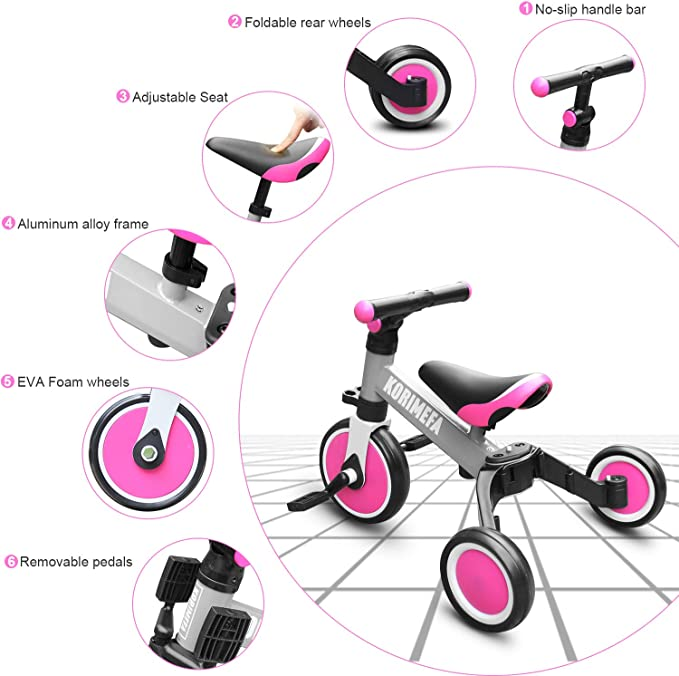 Amazon.com: KORIMEFA - Triciclo 3 en 1 para niños de 1 a 3 ...