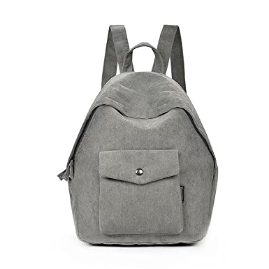 f0bbdd333451 Canvas Women Backpack School Bags Teenage Girls Casual Back Pack Student School  Bag Gray