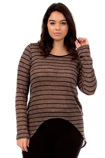 a6aa48ddabd928 2LUV Plus Women's Striped Knit High Low Plus Size Top Light Brown  1XL(PASW0589) at Amazon Women's Clothing store: Fashion T Shirts