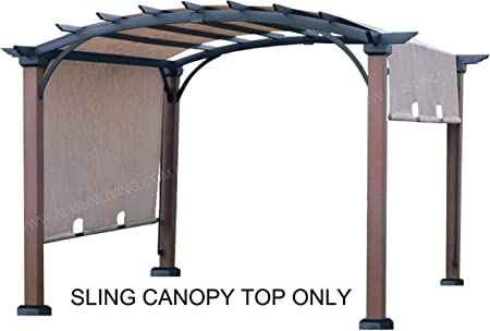 Amazon Com Alisun Replacement Sling Canopy With Ties For The Lowe S Allen Roth 10 Ft X 10 Ft Tan Black Material Freestanding Pergola L Pg152pst B Size 200 L X 103 W Garden Outdoor