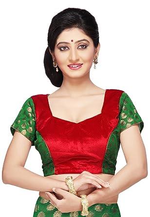 27566c2381ad54 Utsav Fashion Velvet and Chanderi Silk Brocade Blouse in Green and ...