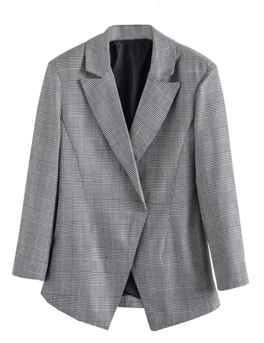 C2S Womens Jacket British Style Casual Back Vent Wedding Suit Coat WG002 (Grey, L)