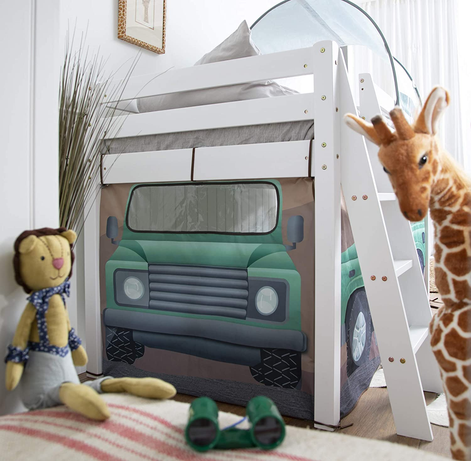 White Noa and Nani Midsleeper Cabin Bed with Safari Overland 4x4 Tent and Tunnel
